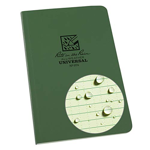 """Rite in the Rain Weatherproof Soft Cover Notebook, 4 5/8"""" x 7 1/4"""", Green Cover, Universal Pattern (No. 974), 7.25 x 4.625 x 0.375"""
