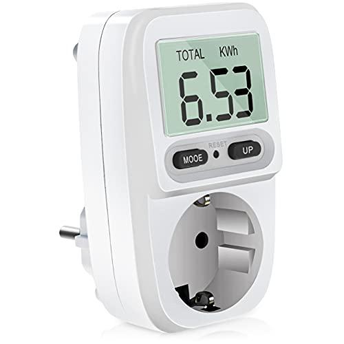 Nisear Enchufe Medidor de Consumo de Energía, con pantalla LCD, protección contra sobrecarga, monitor analizador de energía calculadora, máxima 3680W