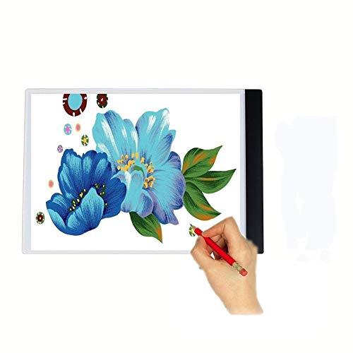 Fighrh Dibujo Caja A4 LED bosquejo copia del álbum fino estupendo dibujo de copia de Búsquedas Light Light Pad tercera velocidad de atenuación de artistas con 3 regalo Junta brillo ajustable Niños esc