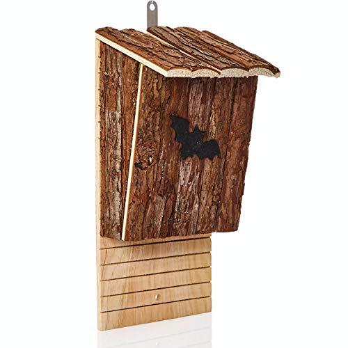 deintierhaus.de© | Fledermaushaus aus Naturholz - Nistkasten & Schlafplatz für Fledermäuse - Fledermauskasten zum Aufhängen - fertig montiert & wetterfest - Fledermaushöhle | 38 x 17,5 x 15,5 cm
