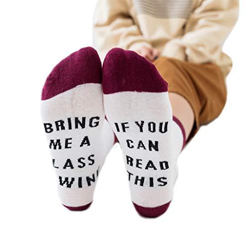 Happy Socks -Aisumi-Unisex-Kontrastfarbe Lustiges Sprichwort, Wenn Sie Dieses Bier Lesen Können Wein Crew Socken