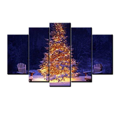 PEJHQY Moderne Kunst 5 Stück dekoratives Ölgemälde glänzend Weihnachtsbaum Poster Leinwand Wandkunst,Leinwanddruck 5