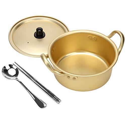 Ahier Ramen Pot, Korean Ramen Cooking Pot With Lid Spoon and Chopsticks (1pair), Korean Ramen Noodle Pot Fast Heating For Kitchen Cookware