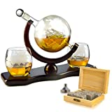 Whiskey Decanter Set Globe with 2 Etched Globe Whisky Glasses - Comes With Whiskey Stones for Whiskey, Scotch, Bourbon 850ml