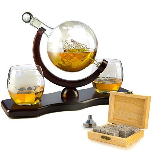Whiskey Decanter Set Globe with 2 Etched Globe Whisky Glasses - Comes With Whiskey Stones for...