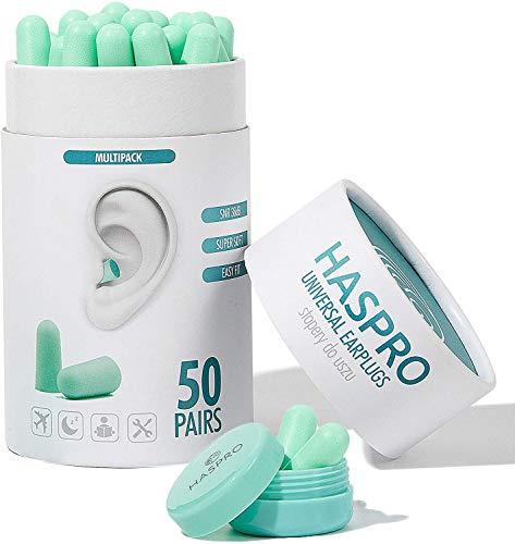 HASPRO [50 PARES] Paquete a granel ecológico, tapones para los oídos de espuma ultra suave en tubo GIGA con estuche de transporte, los mejores tapones para los oídos para roncar, SNR 38dB (menta)