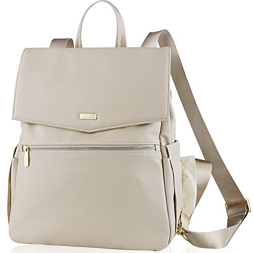 Landici Leather Diaper Bag Backpack for Mom,Waterproof Multifunction Maternity Nappy Travel Back Pack Changing Bag with Ipad Compartment,Stroller Strap,Fashion Women Lady Purse Bag,Beige
