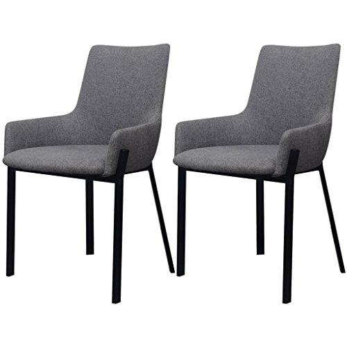 Festnight 2er-Set Stoff-Essstuhl Esszimmerstühle mit Stoffbezug Küchenstühle Esszimmer Stuhl Sitzgruppe 53x59x81,5cm Hellgrau