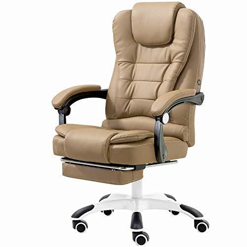 JIEER-C stoel Home Office bureaustoel Ultimate Comfort Design Home Office Computer Swivel Racing stoel, PU lederen padding bureaustoel met verlengde beensteun en ligstoel (kleur : Khaki) kaki
