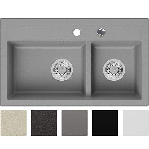 Granitspüle Grau 74 x 44 cm, Spülbecken + Siphon Automatisch, Küchenspüle ab 80er Unterschrank in 5 Farben mit Zubehör und Antibakterielle Varianten, Einbauspüle von Primagran