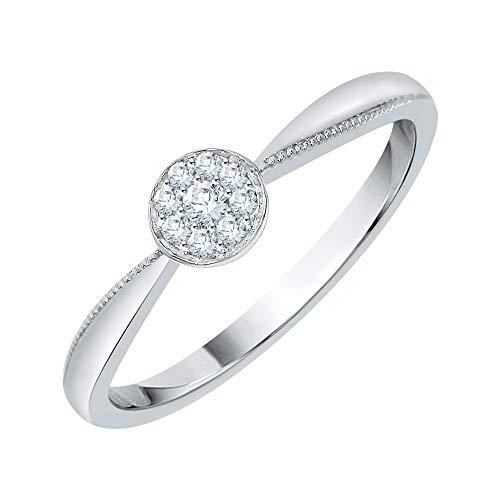 KATARINA Anillo de compromiso con racimo de diamantes en plata de ley (1/20 cttw, I-J, I1-I2)