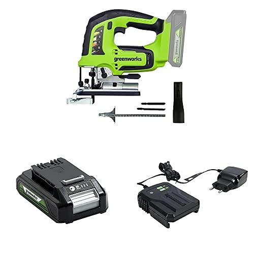 Greenworks 24V Brushless Jig Saw & 24V Battery G24B2 & 24V Charger G24MC