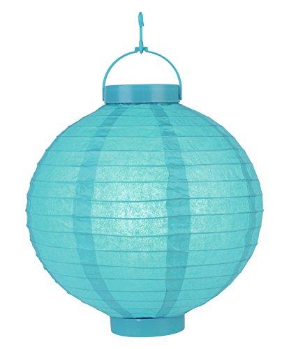 "Quasimoon PaperLanternStore.com 10"" Turquoise 16 LED Round Paper Battery Lantern"