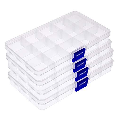 YapitHome 4 Piezas Ajustable Caja de Almacenamiento Caja Compartimentos de Plástico con Separador para Artículo Pequeño, Pendientes, Anillos, Cuentas(Transparente)