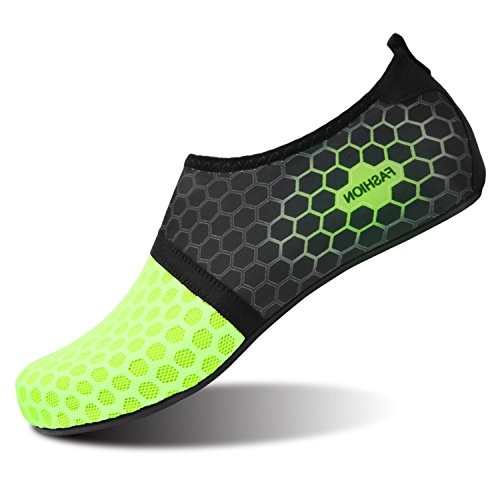 L-RUN Damen Barfuß Schuhe zum Schwimmen Surfen Dot_Green L (B: 6.5-7, M: 7-7.5)