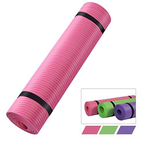 Estera de yoga, Natuce NBR Pilates Fitness Mat con bolsa de transporte y 2 correas - 15 mm grueso para Estiramiento camping - Verde / Púrpura / Rosa