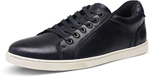 JOUSEN Valyrain Men's Sneakers Leather Casual Shoes for Men Breathable Business Casual Sneaker Retro Fashion Sneaker (AMY903 Black 9.5)