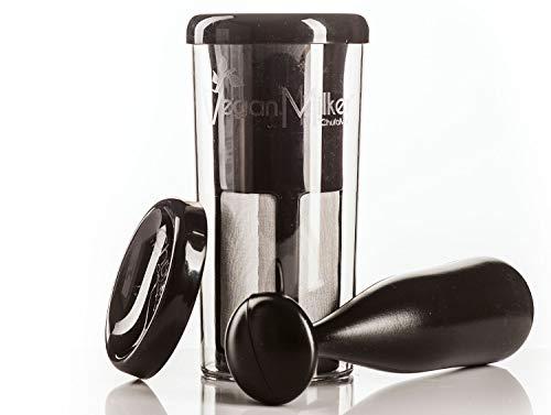 VEGAN MILKER BLACK, Vegan Milch Maker. Pflanzenmilch aus beliebigen Samenkörnern. Erstellt 1 Liter in 1 Minute. Hergestellt in Europa. Kostenloses Rezept-E-Book (Veganmilker-Website)