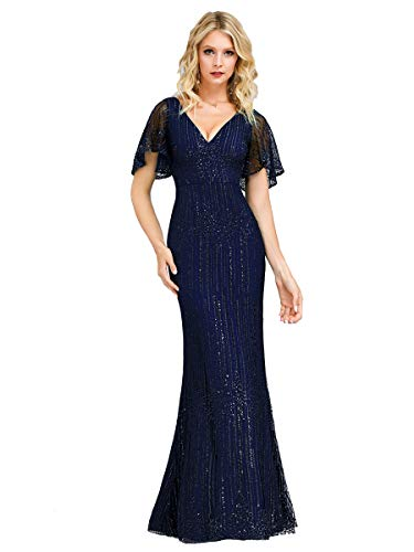 Ever-Pretty Damen Abendkleid Meerjungfrau Partykleid V Ausschnitt Kurze Ärmel Pailletten lang Navy blau 42