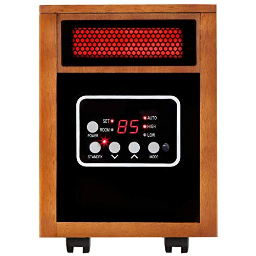 Picotech 1500W Heater with Remote Control Brown | Durable Sturdy Heavy Duty Adjustable Temperature and Timer 1000SQ.FT 5200 BTU Contemporary | For Home Office Bedroom Living Room Dining Room Apartment