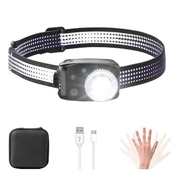 MATEPROX Lampe Frontale LED, Super Brillante Torche Frontale de 800 Lumens, 3 Modes d'éclairage, Lampe Frontale Rechargeable USB Imperméable pour la Course, la Cyclisme, la Camping, la Pêche
