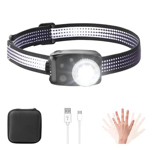MATEPROX Linterna Frontal LED, Lámpara de Cabeza Superbrillante de 800 Lúmenes con 3 Modes de Luz,USB Recargable Impermeable Linterna Frontal para Andar en Bicicleta, Acampar, Pescar