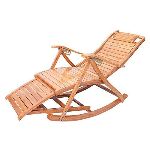 ZCXBHD houten schommelstoel ontspannende ligstoel lounge/verstelbare voetsteun/schommelstoel fauteuil, voor tuin balkon woonkamer buiten Patio