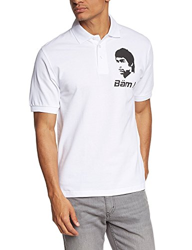Coole Fun T-Shirts BÄM in Your FACE Bruce Lee Poloshirt, Weiss, Grösse: L