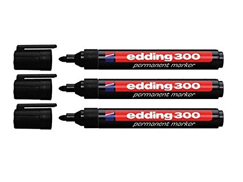 Edding 4-300001 300 Industry Permanent Marker - Rundspitze - Beschriftung von Karton, Metall, Gummi und Glas, schwarz (1,5-3 mm, 3er Pack)