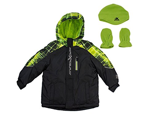 ZeroXposur Boys Youth Jacket Coat Performance Black Green (Small 4)