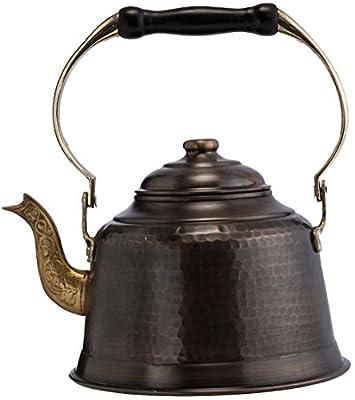 DEMMEX 2017 Heavy Gauge 1mm Thick Hammered Copper Tea Pot Kettle Stovetop Teapot (Antiqued Copper)
