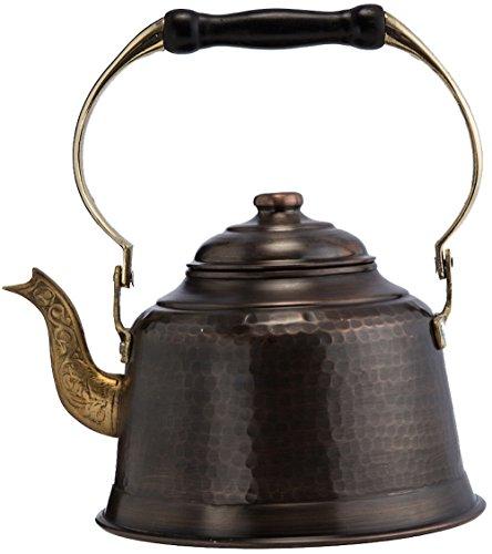 DEMMEX Heavy Gauge 1mm Thick Hammered Copper Tea Pot Kettle Stovetop Teapot, 1.6Qts, (Antiqued Copper)