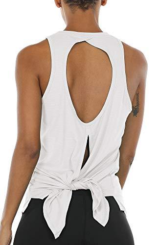 icyzone Damen Sport Yoga Tank Top Rückenfrei - Fitness Running Shirts Casual Bluse Oberteil (L, White)