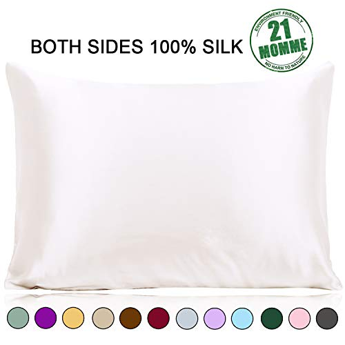 Ravmix Silk Pillowcase Standard Size for Hair and Skin with Hidden Zipper, 21 Momme 600TC Hypoallergenic 100% Mulberry Silk Pillow Cover, 20×26inches, Ivory White