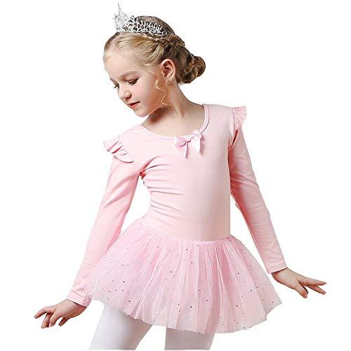 KSITH meisjes lange mouwen danskleding voor kinderen herfst en winter korte balletdroger voor meisjes katoen Back Bow Tutu Pink