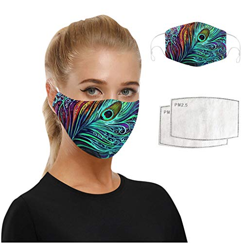 Writtian Face Shield Ewachsene Baumwolle Mundschutz mit 2 Filter Multifunctional Bandana Reusable 3D Print Breathable Dust Protective Face Covering, Stretchy, Adjustable Length