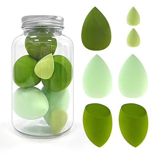 Esponja Maquillaje, Shanmei Essential Set de Esponja de Maquillaje Uso Húmedo y Seco, Ideal para Base líquida, Cremas y Polvos, 3 Tamaños, Verde