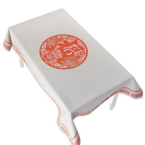 Nappes de coton New National Wind tissu de fête de l'an épaissi gélatines nappes rectangulaires en tissu (Color : White-F, Size : 110×110cm)