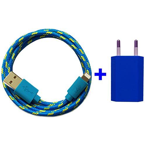 Nylon USB 8-Pin oplaadkabel datakabel oplader compatibel met [Apple iPhone XS XR XS Max X 10 8 8Plus 7 7Plus 6S 6SPlus 6 6Plus 5S 5C 5 SE | iPad | iPod] bont 1m blau + Netzteil