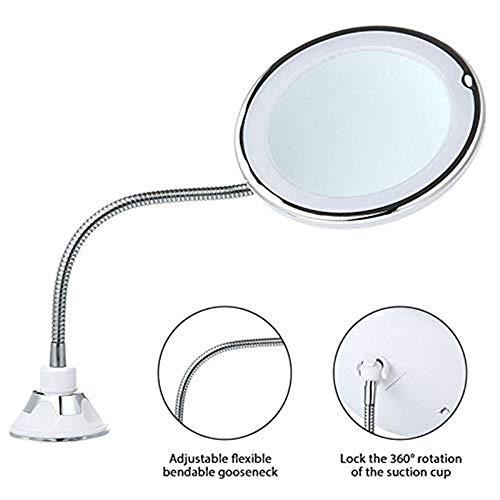 Espejo Flexible Luz LED Luces de Espejo de Sobremesa Luces de Maquillaje 360 Grados Sucker Luces de Lupa Ajustables
