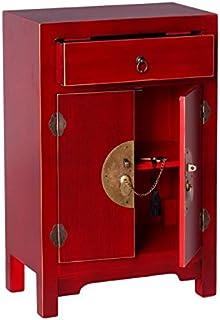 Tousmesmeubles Confiturier 2 Portes, 1 tiroir Rouge Meuble Chinois - Pekin - L 45 x l 26 x H 69 - Neuf