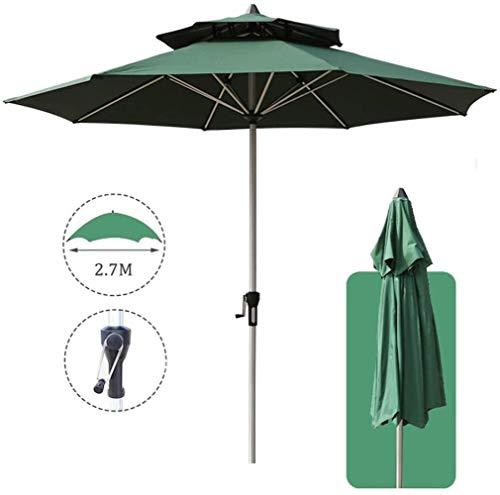 2,7M Jardin Parasol, Anti-UV Double-top Umbrella Auvent à manivelle, for le jardin Balcon Terrasse Hors de base (Color : Green)