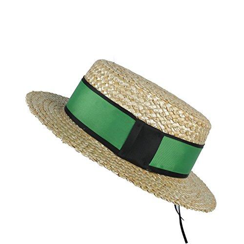 AINUO Gorras Sombrero del Sol de la Playa de Las Mujeres de la Paja del Trigo del 100% Natural con la empanada de Cerdo Plana Señora Fashion Boater Sunhat (Color : Green, tamaño : 57-58cm)