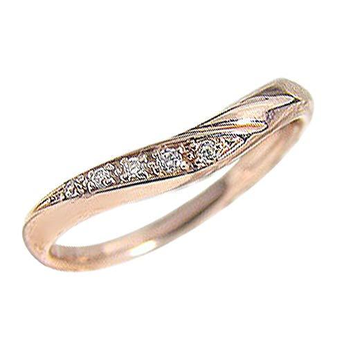 [ジュエリーアイ]Jewelry i Vライン ダイヤモンドリング ピンキーリング ピンクゴールドK18 レディースリング 単品 結婚指輪 ブライダル ギフト 12号