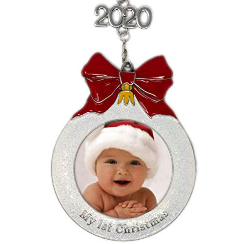 My First Christmas Picture Ornament - Baby's 1st Christmas Dated Year with Removeable 2020 Charm - Shaped Like a Bulb Ornament with White Glitter and A Red Bow Design - New Baby Gifts Boy or Girl