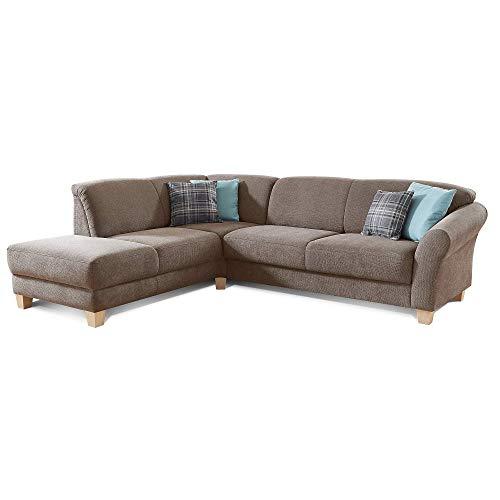 CAVADORE Ecksofa Gootlaand / Große Couch im Landhaus-Stil / Mit Federkern-Polsterung / 257 x 84 x 212 / Braun