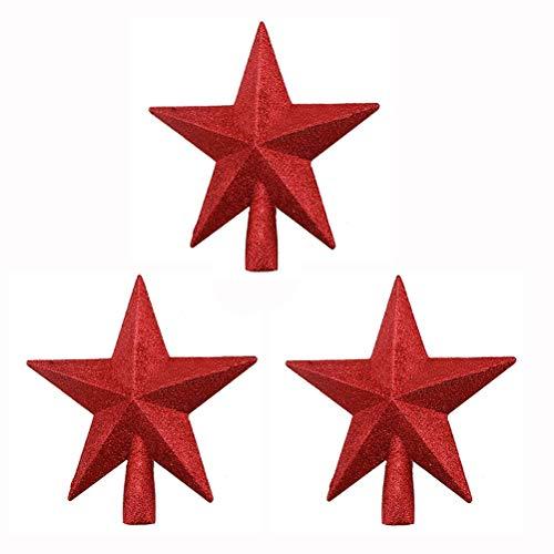 Prevessel 20 cm Stern Weihnachtsbaum Spitze Glitzer Weihnachtsbaum Spitze Stern Topper Glitzer Oberfläche Weihnachtsbaum Dekoration für Party Zuhause Dekoration (3 Stück rot)