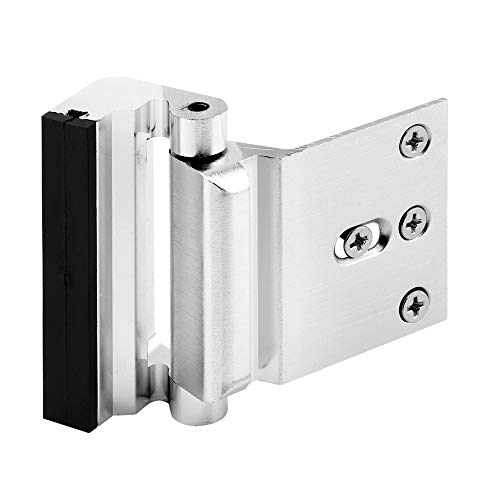 "Defender Security Brushed Chrome U 11325 Door Reinforcement Lock – Add Extra, High Security to your Home and Prevent Unauthorized Entry – 3"" Stop, Aluminum Construction Finish"