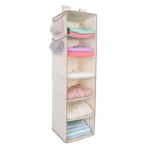 MustQ Hanging Closet Organizer Space Saver Hanging Storage Shelves with 2 Widen Straps 6-Shelves Closet Hanging Sweater Organizer Beige