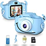 MUMAX Kids Camera, Children Digital Selfie Video Camcorder 1080P Dual Lens 2.0 Inch HD, 3-10 Year Old Toddlers Girls & Boys Birthday Gifts Toys with 32G TF Card
